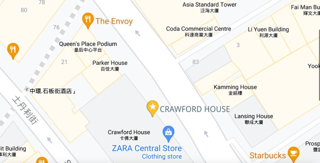 Map of Crawford House Location 卡佛大廈地圖